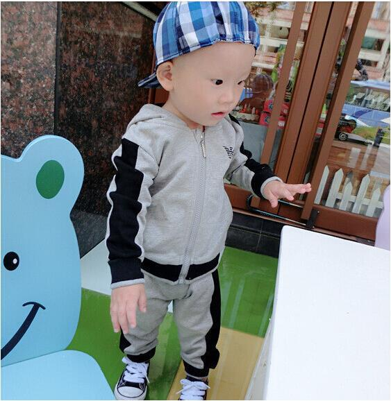 HTB1. .oFbGYBuNjy0Foq6AiBFXaA - 2019 spring Kids Clothes set Fashion Casual Letter Gray Zipper Hoodie+ Pants Baby Boys 2pcs Sets girl fall clothes Children Suit