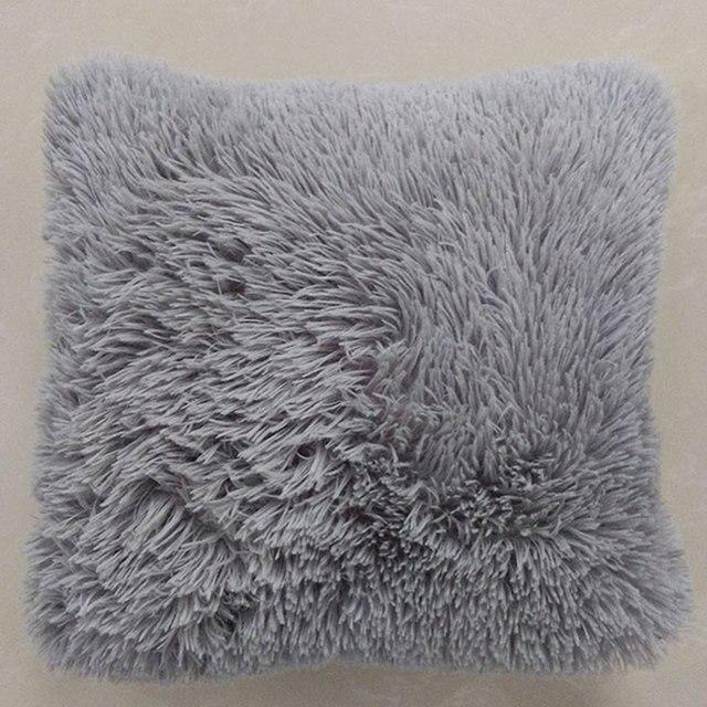 Aliexpress Buy Mongolian Faux Fur Pillow Cover Cushion Case Adorable Grey Faux Fur Pillow Covers