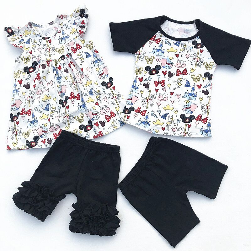 2018 Wholesale Baby Girl Flutter Mickey Pearl Ruffle Short Set And Boy Mickey Raglan Shorts Set Baby Summer Boutique Clothing flutter sleeve twist front top and wide waist shorts set