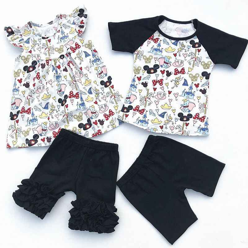 cfb26e79f7778 Detail Feedback Questions about 2018 Wholesale Baby Girl Flutter Mickey Pearl  Ruffle Short Set And Boy Mickey Raglan Shorts Set Baby Summer Boutique ...