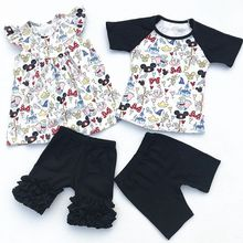 2018 Wholesale Baby Girl Flutter Mickey Pearl Ruffle Short Set And Boy Mickey Raglan Shorts Set Baby Summer Boutique Clothing