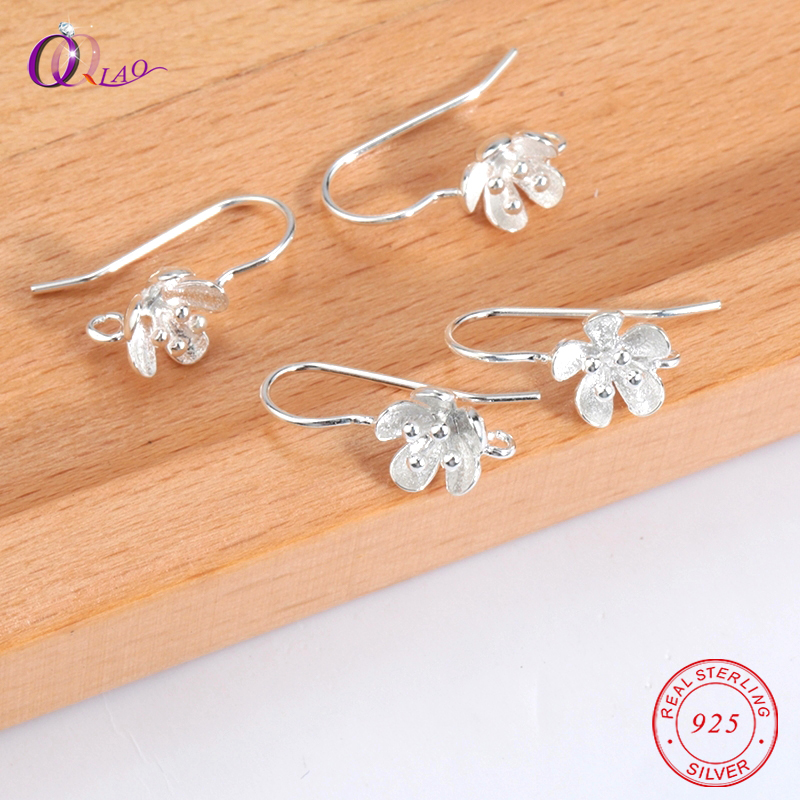 A Pair 925 Sterling Silver Flower Earring Ear Pins For Women Jewelry Making DIY Flower Wedding Earrings Pins Jewelry Findings