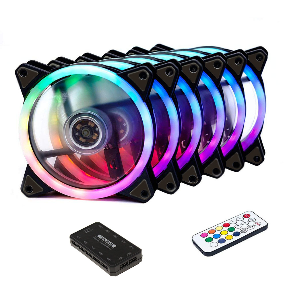 Computer Case PC Cooling Fan RGB Case Fan Adjust LED 120mm Quiet + IR Remote New Computer Cooler Cooling RGB Case Fan CPU thumbnail
