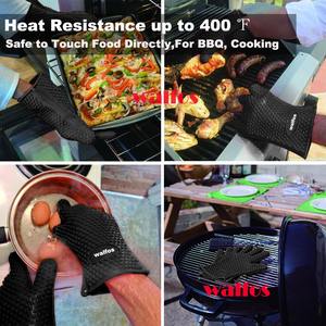 Image 2 - WALFOS 1 piece food grade Heat Resistant Silicone Kitchen barbecue oven glove Cooking BBQ Grill Glove Oven Mitt Baking glove