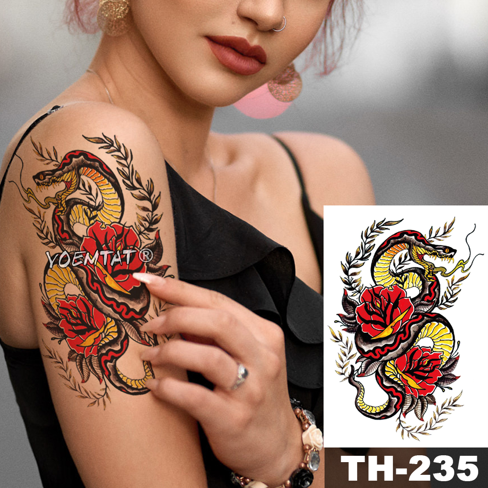 Waterproof Temporary Tattoo Sticker Old School Snake Flower Pattern Animals Water Transfer Body Art Flash Fake Tatoo