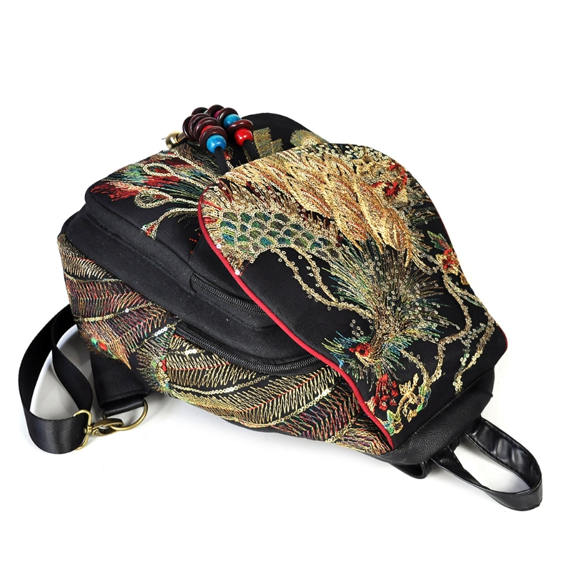 Multi-functional 111401 backpack ethnic embroidery phoenix canvas backpack - black Casual e lov latest hand painted canvas shoes cute animals graffiti flat shoe custom casual espadrilles oxford shoes for women