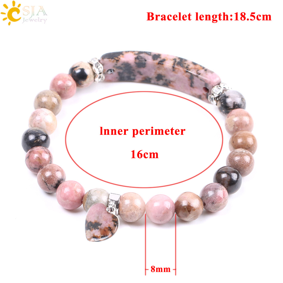 CSJA Natural Gem Stone Bangles Line Rhodonite Love Heart Fitting Healing Beads Bracelets Rectangle Stones for Women Jewelry F104