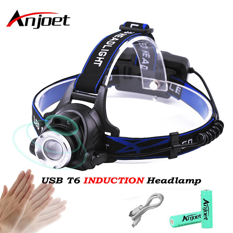 Anjoet IR Sensor Headlight USB Rechargeable Induction T6 LED Headlamp Head Light Lamp Lantern 18650 Battery Fishing + USB Cable