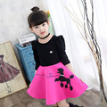 Girls Dress Cotton Mosaic Cartoon Print beading Dress For Girls Clothing Children Long Sleeve Kids Dress 2 4 6 8 10 12 14 years