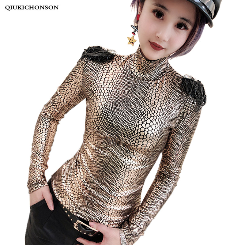 Personality Streetwear Women Long Sleeve Shirt Spring Autumn Punk Turtleneck Snake Print T Shirt Slim Sexy Tshirt With Epaulets