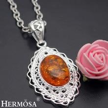 Hermosa joyería de la vendimia oval orange 925 hf949 collares de plata de ley