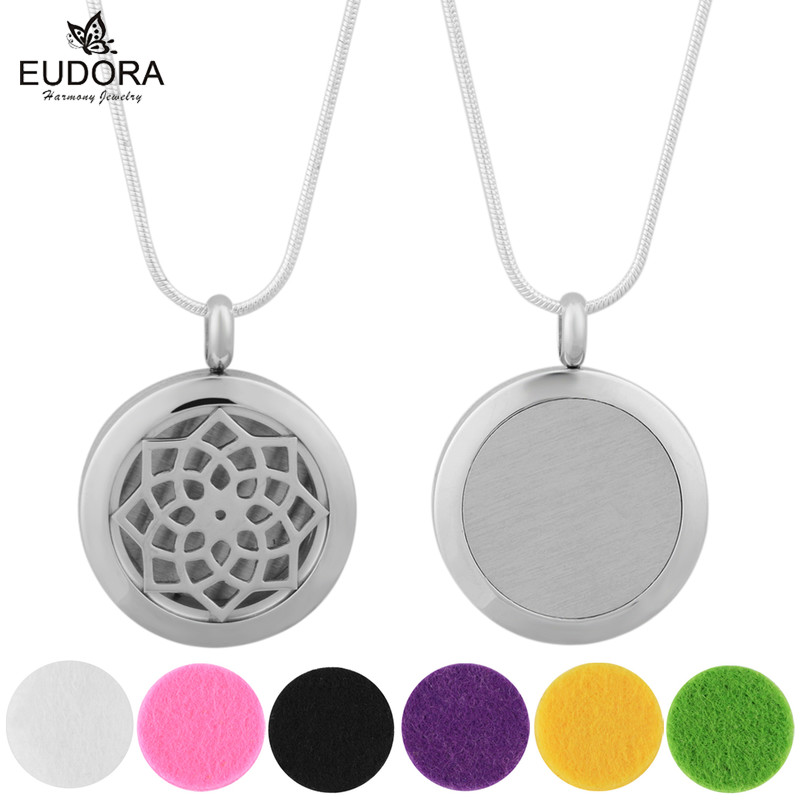 New Trendy Essential Oil Diffuser Perfume Locket Pendant Stainless Steel Aromatherapy Floating Locket Necklace 6PCS Felt Pads