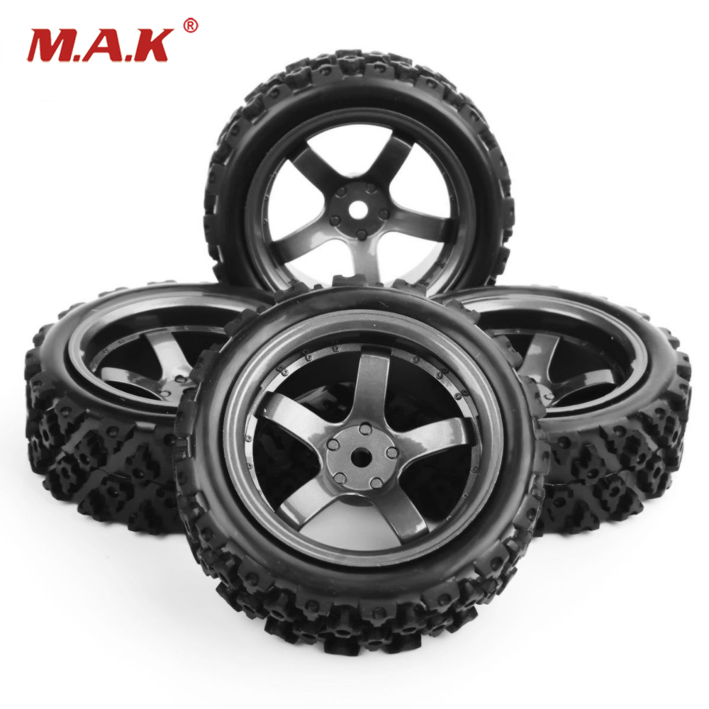 4 pcs 1/10 RC Car Tires And Wheels 12mm Hex Rc Rally Off Road Car Rubber Tyres&Wheel Rim Plastic For Model Toys Car Accessories 4pcs set 12mm hex rubber tires tyre wheel rim for hsp rc 1 10 flat racing on road car pp0150 6rg toys vehicles accessories
