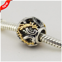 Fits for Pandora Bacelets Openwork infinity Charms with 14K Real Gold 100% 925 Sterling Silver Beads Free Shipping