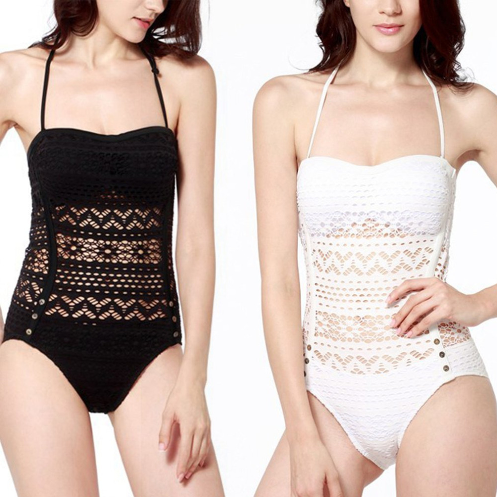 a820b16fca Sexy Hollow out One Piece Swimsuit Bandage Halter Neck Swimwear Solid Color  Women Bathing Suit Beach Bikini Set-in Body Suits from Sports &  Entertainment on ...