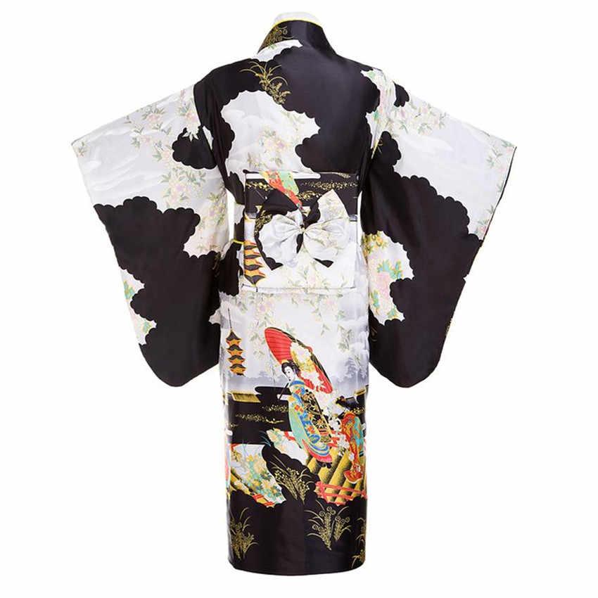 Черные женские традиционный японский юката кимоно с Оби цветок винтажное вечернее платье Косплэй костюма большого размера возможен ZW01