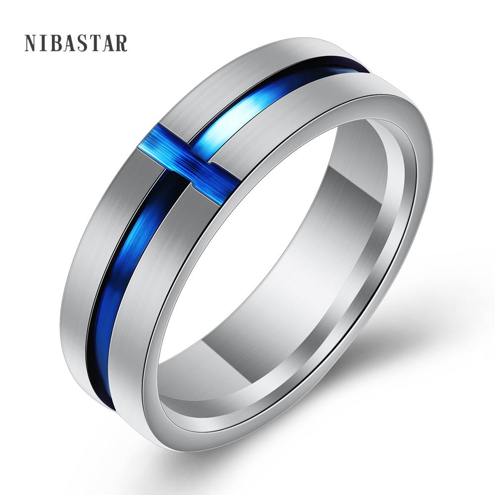 6mm Wide Cross Thin Blue Line Stainless Steel Ring For Men