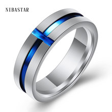 6mm Wide Cross Thin Blue Line Stainless Steel Ring For Men Wedding Bands Engagement Wedding Jewelry USA Size 6-13(China)