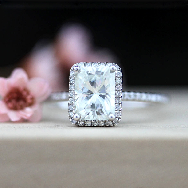 14k White Gold 2.7ct Carat Radiant Cut Engagement Wedding Lab Grown Moissanite Diamond Ring Set Test Positive Lab Grown Diamond transgems 1ct carat lab grown moissanite diamond jewelry wedding anniversary band solid white gold engagement ring for women