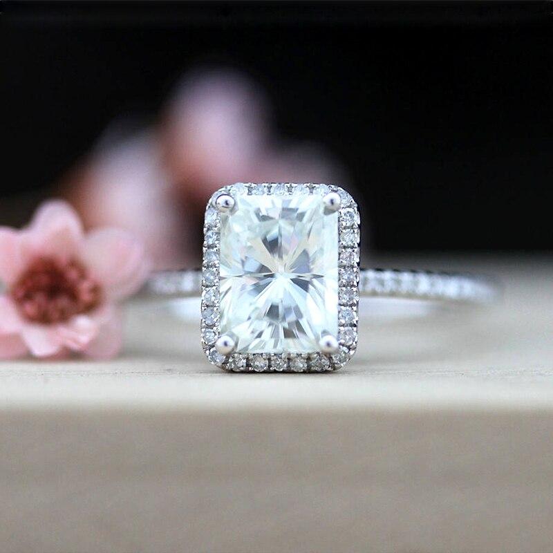 14k or blanc 2.7ct Carat taille radieuse fiançailles mariage laboratoire cultivé Moissanite diamant bague ensemble Test positif laboratoire cultivé diamant