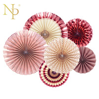 Nicro 6 Teile/satz Rose Gold Partei Dekorative Kreative Papier Blume Fan Handgemachte Falten Fan Partei Hochzeit Einkaufszentrum Supplie