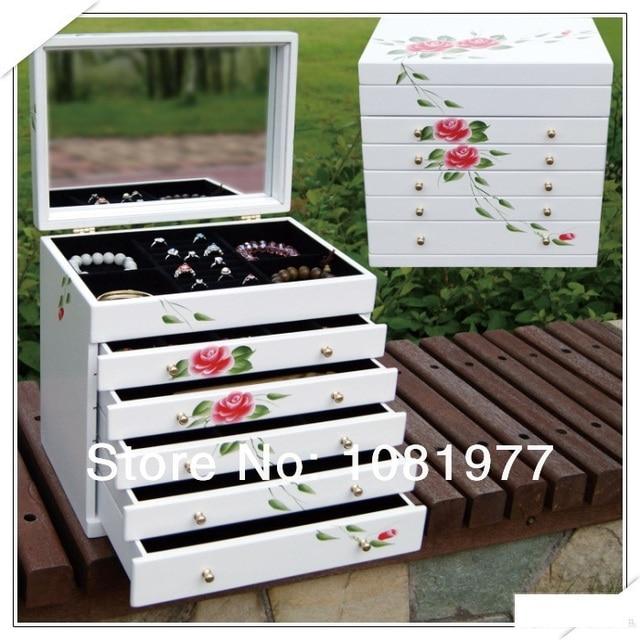 wood  storage box jewelry box wedding gift birthday gifts 6layers bracelet case casket display organizer