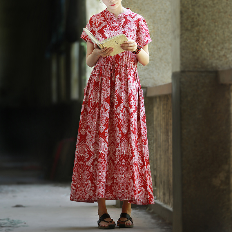 2018 Mori Girl High Waist With Belt Casual Dress Vintage Ethnic Dress Women  Long Cotton Dresses Shirt Robe Femme Jurken -in Dresses from Women s  Clothing on ... 8944cfa27cee