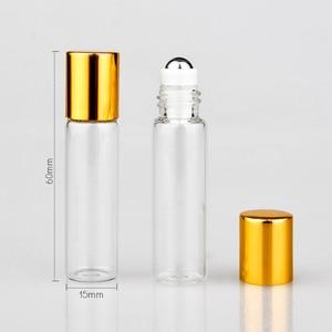 Image 2 - Toptan 100 adet/grup Mini cam parfüm şişeleri üzerinde rulo ile boş kozmetik uçucu yağ seyahat için çelik top ile şişe