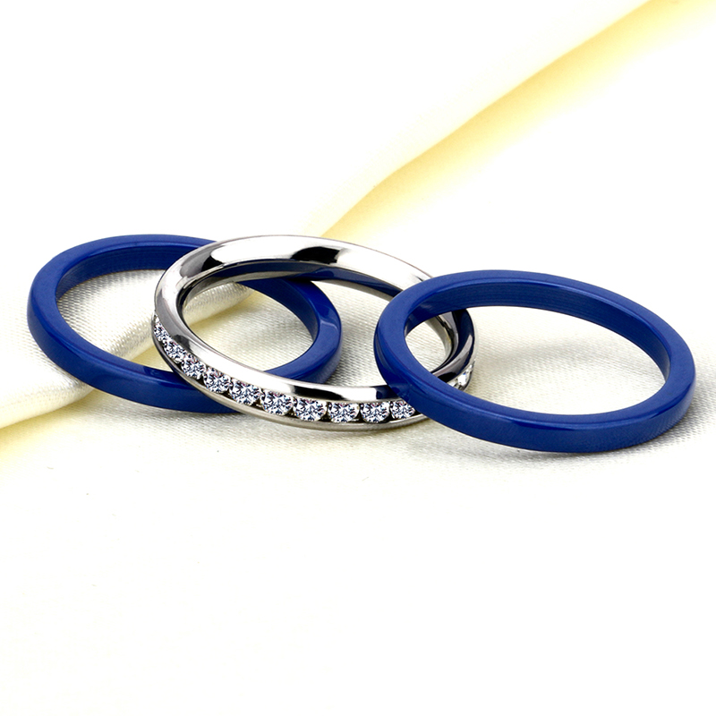 Stainless Steel Ring With Blue Lines