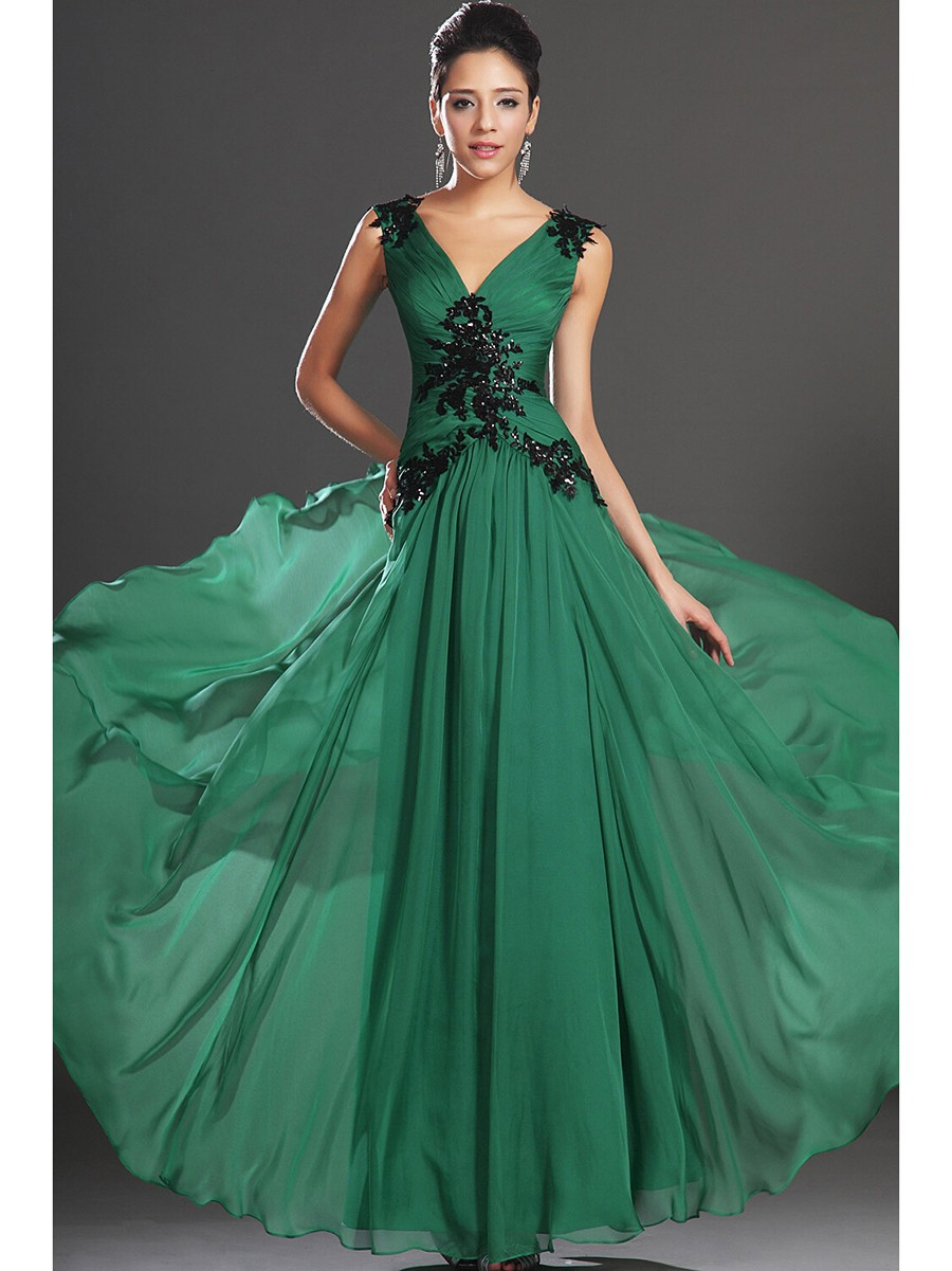 Attractive Black And Green Prom Dress Sketch - All Wedding Dresses ...