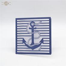 Azul marinho âncora personalizado laser cut convites de casamento tema náutico