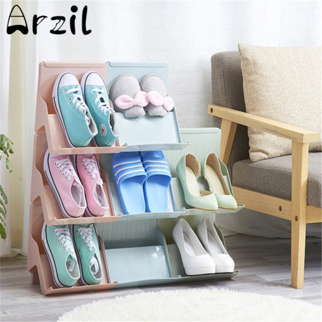 Practical DIY Shoes Storage Shelves Shoe Rack Holder Organizer Convenient Stacked Thickening Plastic Multilayer Space- & Practical DIY Shoes Storage Shelves Shoe Rack Holder Organizer ...