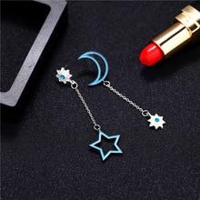 Fashion Women Earrings 2018 Delicate Pentagram Moon Asymmetric Chain Fringe Blue Long Earrings For Women Accessories Jewelry pair of delicate pentagram earrings for men