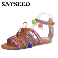 2018 Summer New European And American Large Size Sandals Women Bohemian Ethnic Style Hairy Ball Flat