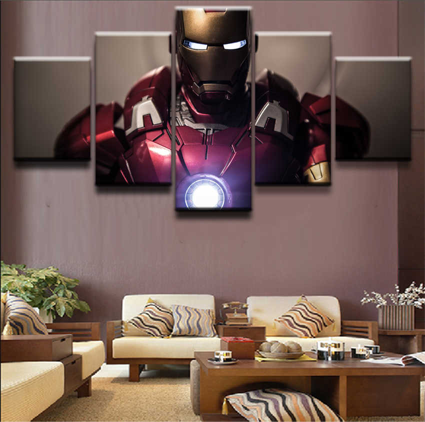 Canvas Prints Oil Painting Home Decor The Dark Knight Movie Poster 5 Panel Iron Man Modular Picture Wall Art For Kids Room Decor