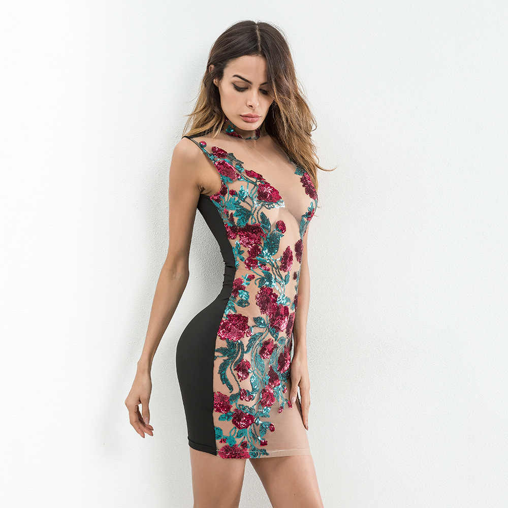b45ff9a7cc9 ... Sexy Women Mesh Embroidery Summer Sequins Dress 2018 Off Shoulder  Perspective Floral Luxury Nightclub Woman Party ...