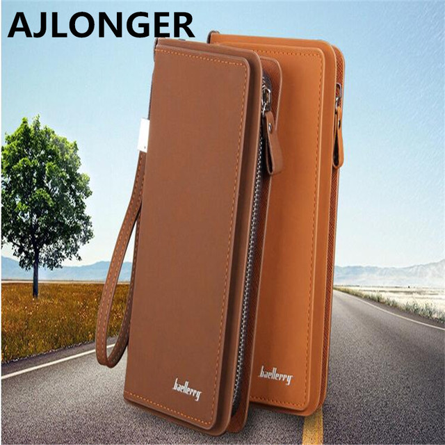 Brand Fashion Men Wallets with Phone Bag Vintage PU Leather Clutch Wallet  Male Purses Large Capacity 1f544040d5c9a