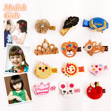 240pcs/lot Wholesale Hair Clips Glitter Crown Animals Butterfly Felt Hairpins Love Heart Owl High Quality Baby Princess Clips