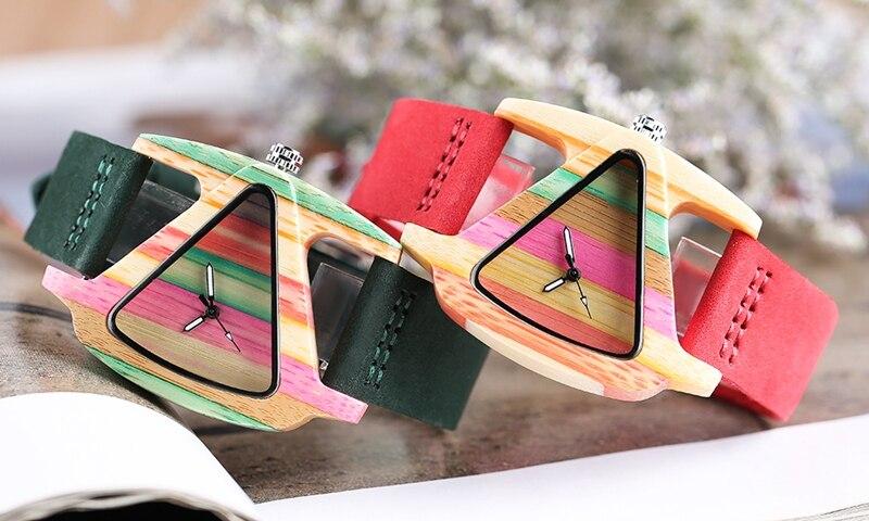 Unique Colorful Wood Watch Creative Triangle Shape Dial Hour Clock Women Quartz Leather Bracelet Watch Women's Wrist Reloj Mujer (13)
