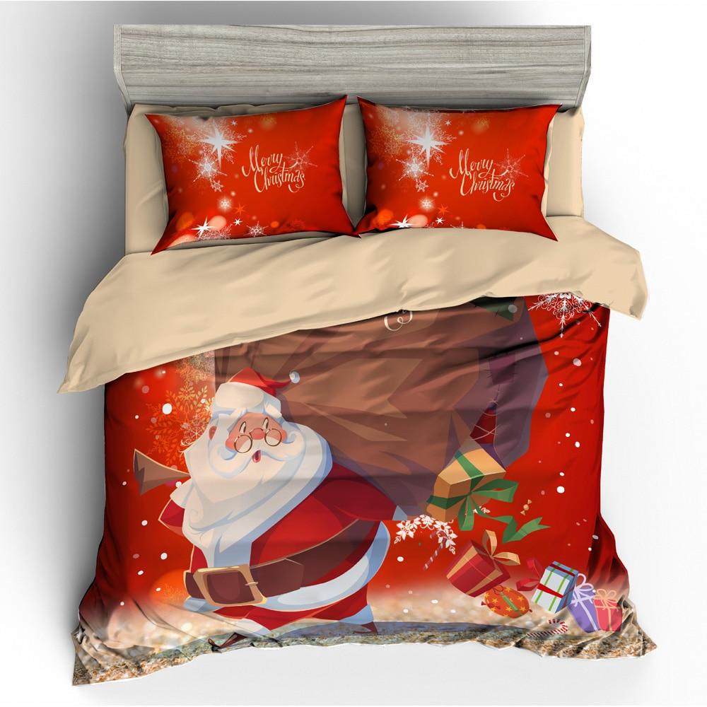 Joyeux noël ensemble noël père noël 3D labyrinthe ensemble de literie housse de couette taie d'oreiller couvre-oreiller