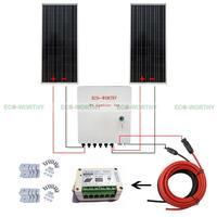 200 Вт 2x100 Вт Панели солнечные W/6 String PV комбайнер + 15A контроллер для караван солнечный Генераторы