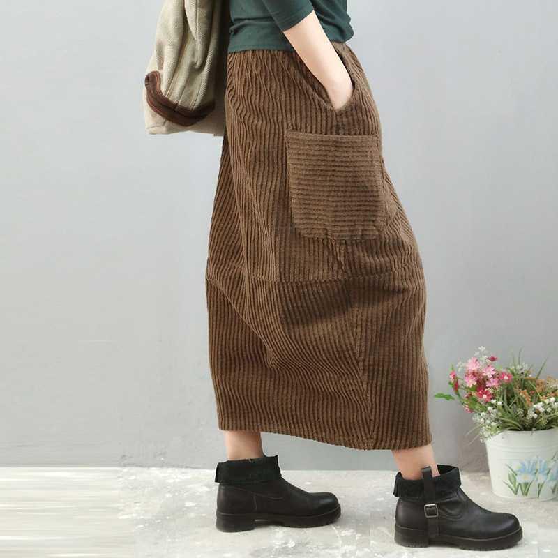 Retro Solid Color Corduroy Elastic Waist Pocket Skirt Mori Girl 2018 Autumn