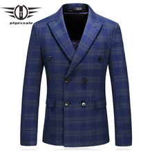 Double Breasted Slim Fit Plaid Blazer Navy Blue