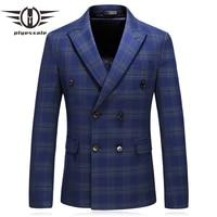 Double Breated Blazer Men 2019 Spring Autumn Slim Fit Mens Striped Plaid Blazer Jacket Men's Smart Casual Blazers Navy Blue Q212