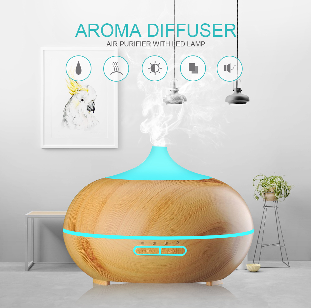 300ml 7 Farben Aroma-Diffuser Anypro Ultraschall Luftbefeuchter Holz Humidifier