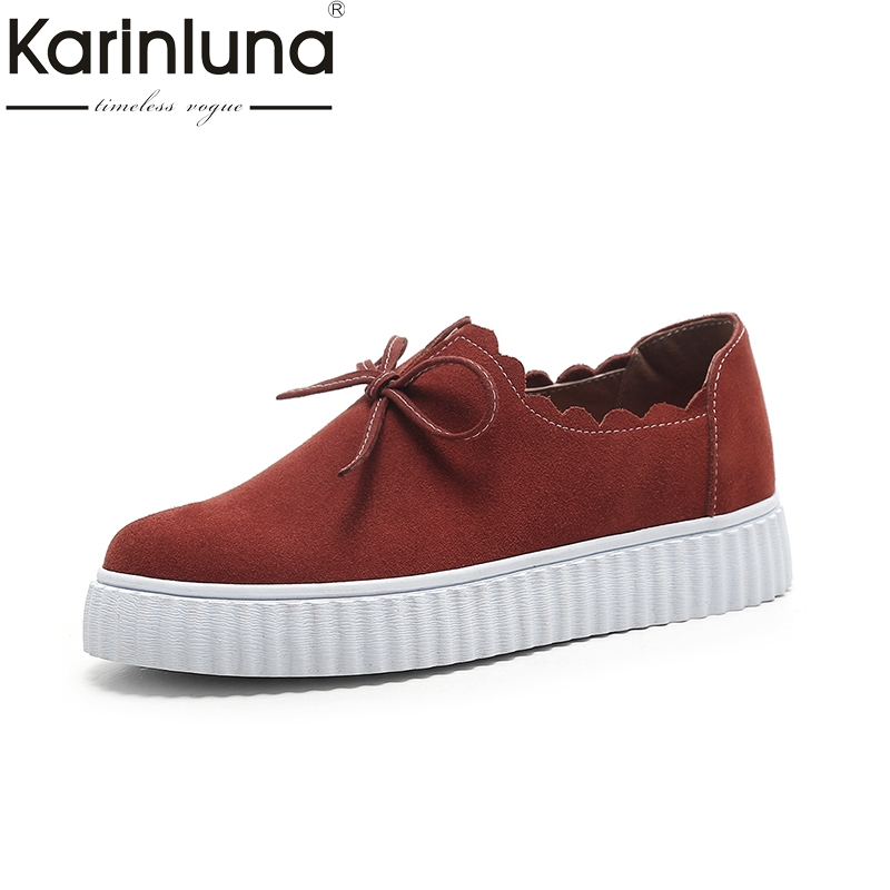 Karinluna 2018 Size 33-40 Cow Suede Leather Spring Flats Shoes Woman Slip On Casual Loafers Women Shoes Footwear classic plaid pattern shirt collar long sleeves slimming colorful shirt for men
