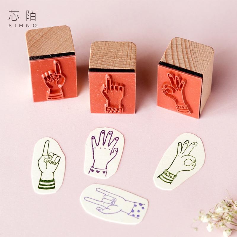 fingertip index seal stamp material rubber stamp gesture DIY copy hand stamp tool wood stamp arts and crafts for kids