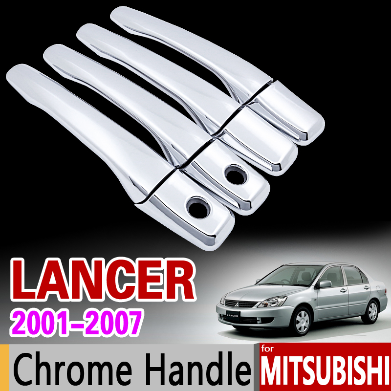 for Mitsubishi Lancer 2001 - 2007 Chrome Door Handle Cover Trim Set 2002 2003 2004 2005 2006 Accessories Stickers Car Styling автомобильный коврик boratex brtx 1036 для mitsubishi lancer 10 2007
