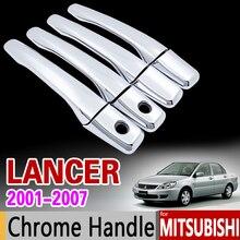 Para Mitsubishi Lancer 2001-2007 Cubierta de la Manija de Puerta del Cromo de corte Establecido 2002 2003 2004 2005 2006 Accesorios de Pegatinas de Coches Styling