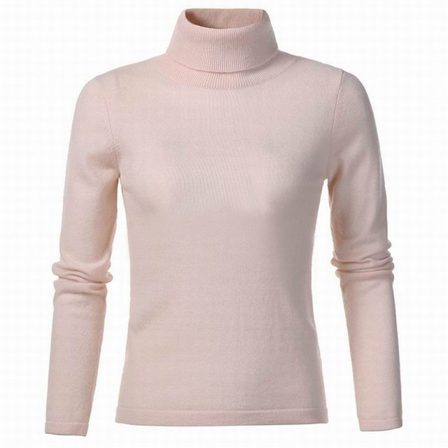 Cashmere Wool Sweater Women Turtleneck Pullover Natural Fabric Soft